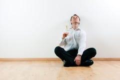 άτομο σαμπάνιας διαμερισ& Στοκ Φωτογραφία