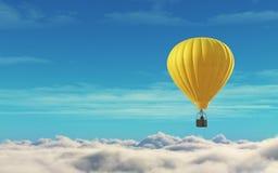 Άτομο σε ένα μπαλόνι ζεστού αέρα κίτρινο Στοκ Εικόνες