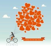 Άτομο σε ένα ποδήλατο με τα μπαλόνια ζεστού αέρα στη διανυσματική απεικόνιση ουρανού απεικόνιση αποθεμάτων