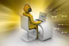 Άτομο σε ένα σύγχρονο γραφείο με το lap-top Στοκ εικόνα με δικαίωμα ελεύθερης χρήσης