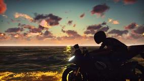 Άτομο σε μια μοτοσικλέτα στην παραλία ενάντια στον ωκεανό, ο ουρανός, κατά τη διάρκεια του ηλιοβασιλέματος Έννοια τρόπου ζωής Το  διανυσματική απεικόνιση