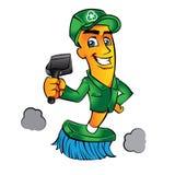 Άτομο σκουπών κινούμενων σχεδίων σκουπών Στοκ φωτογραφία με δικαίωμα ελεύθερης χρήσης