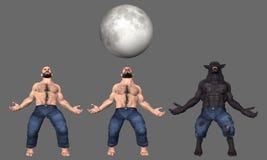 Άτομο στην απεικόνιση μετασχηματισμού Werewolf λύκων Στοκ Φωτογραφίες