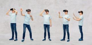 Άτομο στην κάσκα εικονικής πραγματικότητας ή τα τρισδιάστατα γυαλιά καθορισμένη Στοκ Φωτογραφία