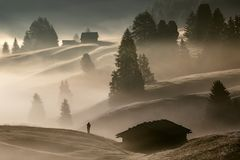 Άτομο στην ομίχλη στοκ εικόνα