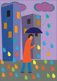 Άτομο στη βροχή ελεύθερη απεικόνιση δικαιώματος
