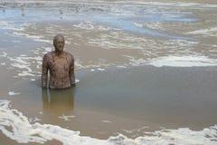Άτομο στη θάλασσα, Crosby, UK Στοκ φωτογραφία με δικαίωμα ελεύθερης χρήσης