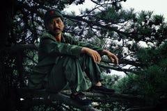 Άτομο στη στρατιωτική συνεδρίαση εξαρτήσεων σε έναν κλάδο ενός δέντρου με ένα μεγάλο κόκκινο αστέρι στο καπέλο του στοκ φωτογραφίες με δικαίωμα ελεύθερης χρήσης