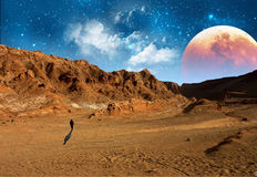 Άτομο στον Άρη Στοκ Εικόνες