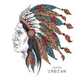 Άτομο στον ινδικό προϊστάμενο αμερικανών ιθαγενών μαύρο roach Ινδικό φτερό headdress του αετού Το χέρι σύρει τη διανυσματική απει Στοκ Εικόνες