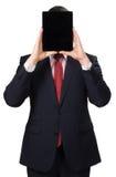 Άτομο στο κοστούμι με ένα PC ταμπλετών Στοκ Φωτογραφία