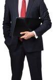 Άτομο στο κοστούμι με το lap-top Στοκ φωτογραφία με δικαίωμα ελεύθερης χρήσης