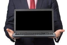 Άτομο στο κοστούμι με το lap-top Στοκ Εικόνες