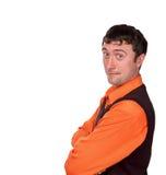 Άτομο στο πορτοκαλί πουκάμισο Στοκ Εικόνες