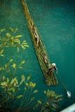 Άτομο στο πράσινο σύνολο μπαμπού Στοκ Φωτογραφία