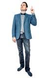 Άτομο στο σακάκι που δείχνει επάνω Στοκ εικόνες με δικαίωμα ελεύθερης χρήσης