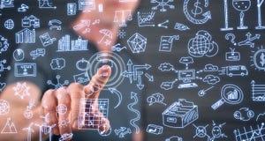 Άτομο σχετικά με την επιχείρηση doodles σε μια οθόνη αφής Στοκ Φωτογραφίες