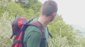 Άτομο τουριστών που ταξιδεύει στο πράσινο δασικό διακινούμενο άτομο με το σακίδιο πλάτης που αναρριχείται στην αιχμή υψηλών βουνώ απόθεμα βίντεο