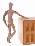 άτομο τούβλου ξύλινο Στοκ Φωτογραφίες
