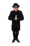 Άτομο το μαύρο παλτό που απομονώνεται που φορά στο λευκό Στοκ φωτογραφία με δικαίωμα ελεύθερης χρήσης
