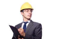 Άτομο το σκληρό καπέλο που απομονώνεται που φορά Στοκ εικόνες με δικαίωμα ελεύθερης χρήσης