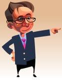 Άτομο χαρακτήρα κινουμένων σχεδίων στο κοστούμι και γυαλιά που παρουσιάζουν χέρι του προς Στοκ φωτογραφίες με δικαίωμα ελεύθερης χρήσης