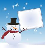 Άτομο χιονιού με τον πίνακα μηνυμάτων Στοκ Εικόνες