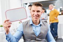 Άτομο ως επιχειρηματία με τη λεκτική φυσαλίδα Στοκ Φωτογραφίες