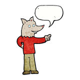 άτομο λύκων κινούμενων σχεδίων που δείχνει με τη λεκτική φυσαλίδα Στοκ φωτογραφία με δικαίωμα ελεύθερης χρήσης