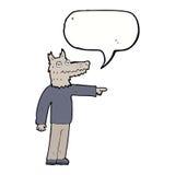 άτομο λύκων κινούμενων σχεδίων που δείχνει με τη λεκτική φυσαλίδα Στοκ Εικόνα