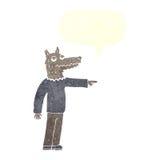 άτομο λύκων κινούμενων σχεδίων που δείχνει με τη λεκτική φυσαλίδα Στοκ εικόνα με δικαίωμα ελεύθερης χρήσης