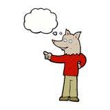 άτομο λύκων κινούμενων σχεδίων που δείχνει με τη σκεπτόμενη φυσαλίδα Στοκ Εικόνες