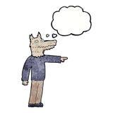 άτομο λύκων κινούμενων σχεδίων που δείχνει με τη σκεπτόμενη φυσαλίδα Στοκ φωτογραφίες με δικαίωμα ελεύθερης χρήσης
