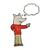 άτομο λύκων κινούμενων σχεδίων που δείχνει με τη σκεπτόμενη φυσαλίδα Στοκ Εικόνα