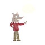 άτομο λύκων κινούμενων σχεδίων που δείχνει με τη σκεπτόμενη φυσαλίδα Στοκ φωτογραφία με δικαίωμα ελεύθερης χρήσης