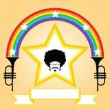 Άτομο Afro με το ουράνιο τόξο και τη σάλπιγγα Στοκ εικόνα με δικαίωμα ελεύθερης χρήσης