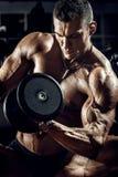 Άτομο bodybuilder στη γυμναστική στοκ εικόνα