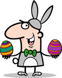 Άτομο bunny Πάσχας στα κινούμενα σχέδια κοστουμιών Στοκ Φωτογραφία