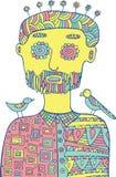 Άτομο HIpster με τα πουλιά και τα λουλούδια στο κεφάλι του Χρωματίζοντας σελίδα Στοκ φωτογραφία με δικαίωμα ελεύθερης χρήσης