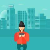Άτομο Hipster με τη γενειάδα που κρατά ένα smartphone Διανυσματικό επίπεδο σχέδιο Στοκ Εικόνες