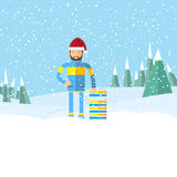 Άτομο Hipster με τη γενειάδα στο χειμερινό τοπίο, Στοκ Φωτογραφίες