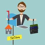 Άτομο Hipster σε μια ταχυδρομική θυρίδα με τα χρέη του απεικόνιση αποθεμάτων