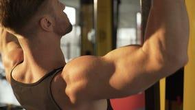 Άτομο Hunky που κάνει pull-down την άσκηση στη γυμναστική με το φως του ήλιου που μειώνεται επάνω στην πλάτη του απόθεμα βίντεο