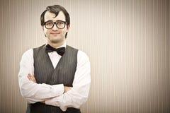 Άτομο Nerd με το πορτρέτο γυαλιών Στοκ Εικόνες