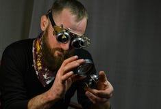 Άτομο Steampunk που φορά τα γυαλιά Στοκ φωτογραφία με δικαίωμα ελεύθερης χρήσης