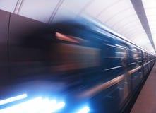 Άφιξη του υποβάθρου τραίνων μετρό της Μόσχας Στοκ Εικόνα