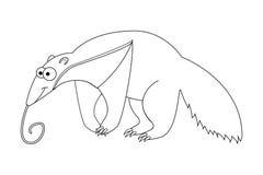 Άχρωμα αστεία κινούμενα σχέδια anteater Στοκ Φωτογραφία
