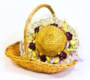 άχυρο καπέλων καλαθιών Στοκ Εικόνα