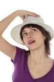 άχυρο καπέλων κοριτσιών Στοκ Εικόνες