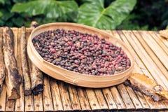 Άψητα οργανικά arabica φασόλια καφέ Τροπικό εξωτικό νησί του Μπαλί, Ινδονησία Αυθεντικός καφές του Μπαλί σε έναν καφέ Στοκ εικόνες με δικαίωμα ελεύθερης χρήσης